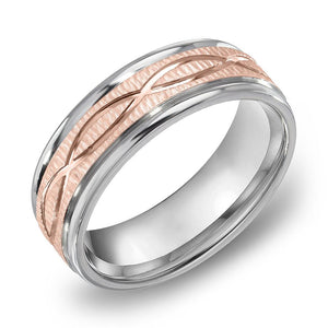 18k Gold Two Tone Rose Gold & Satin WG Comfort fit 7mm Wedding Band Ring