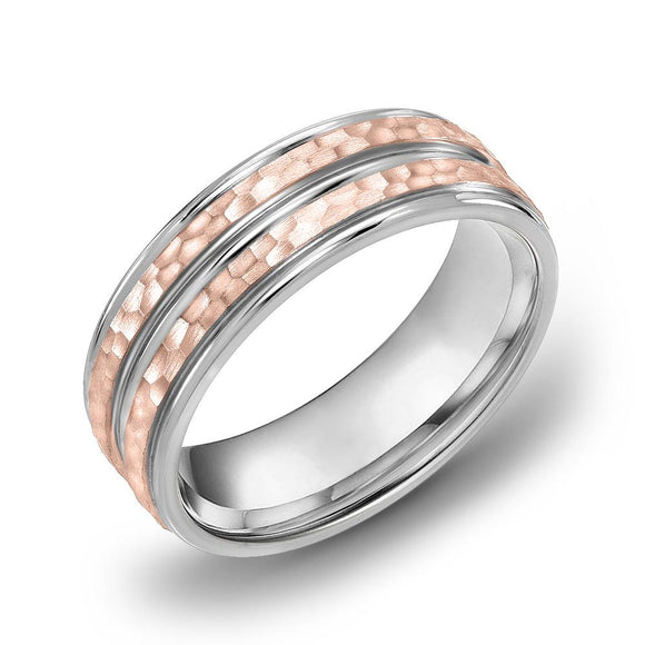 18k Gold Two Tone Rose Gold & DC WG Comfort fit 6mm Wedding Band Ring