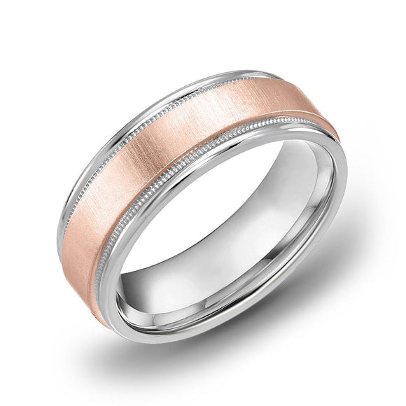 18k Gold Two Tone Rose Gold & Milgrain WG Comfort fit 6mm Wedding Band Ring