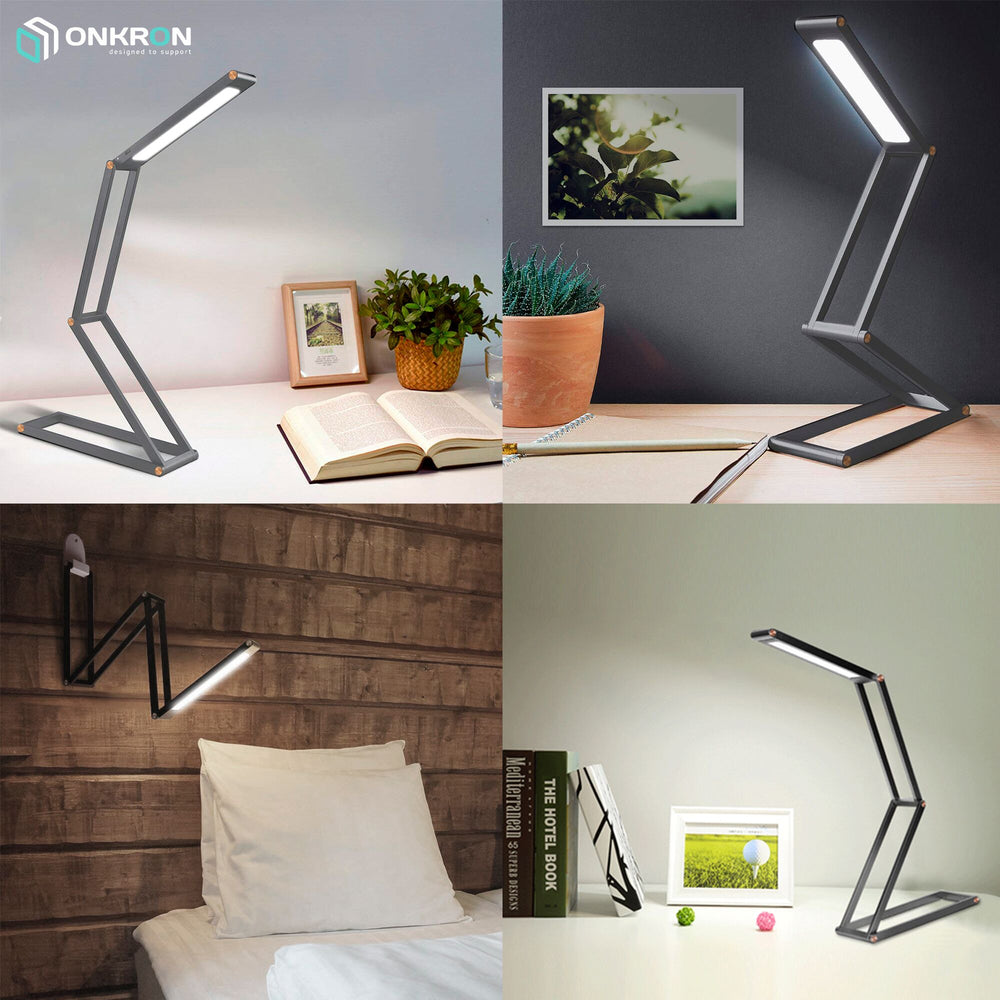ONKRON LED Desk Lamp Foldable with USB Charging Port Rechargeable Portable Table Lamp D4A Grey