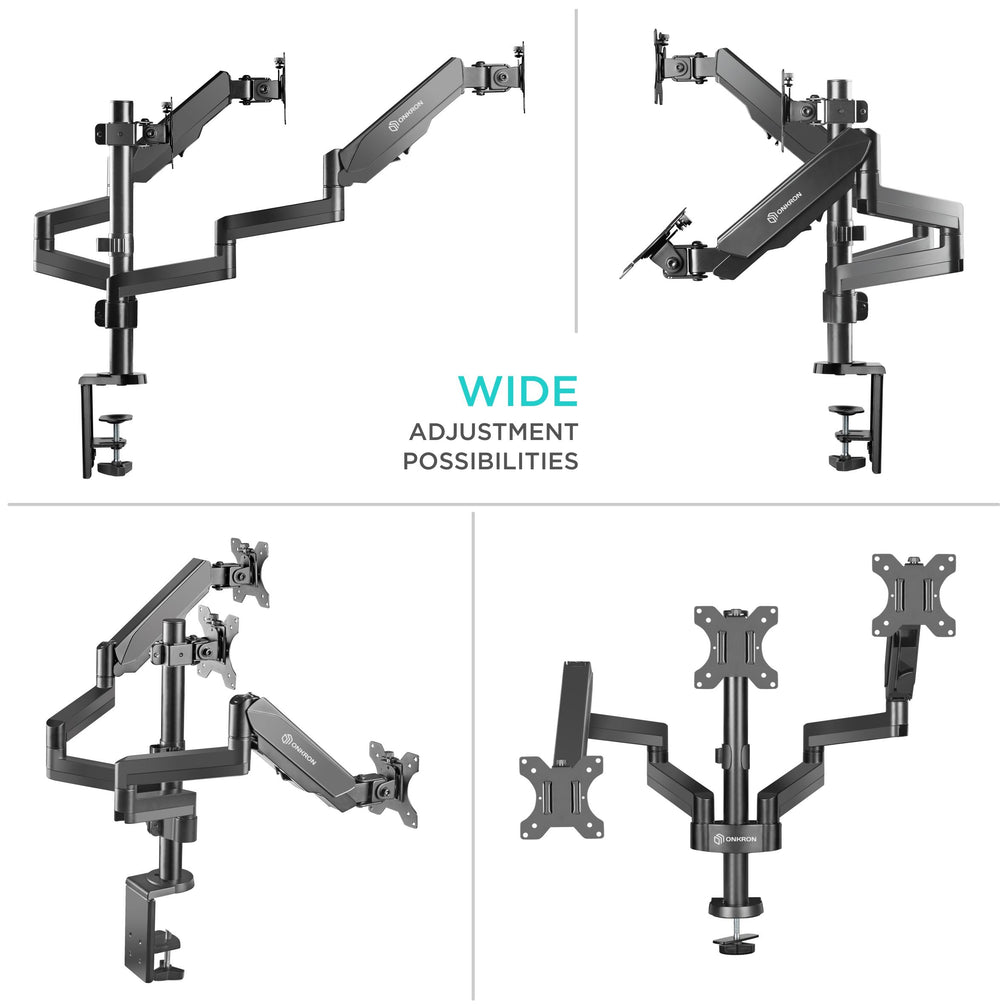 "ONKRON Triple Monitor Desk Mount Stand for 13"" to 32-Inch LCD LED Screens up to 17.6 lbs G280 Black"