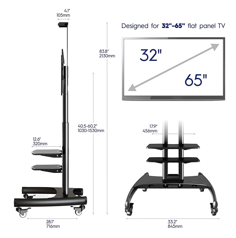 "ONKRON Mobile Universal TV Cart TV Stand w/Mount for Most 32"" to 65"" Flat Screens up to 100 lbs, TS15-62 Black with 2 shelves"