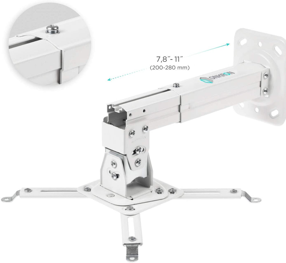 "ONKRON Universal Ceiling Projector Mount Adjustable Mounting Bracket 10.9"" – 14.9"" from Ceiling - K3A"
