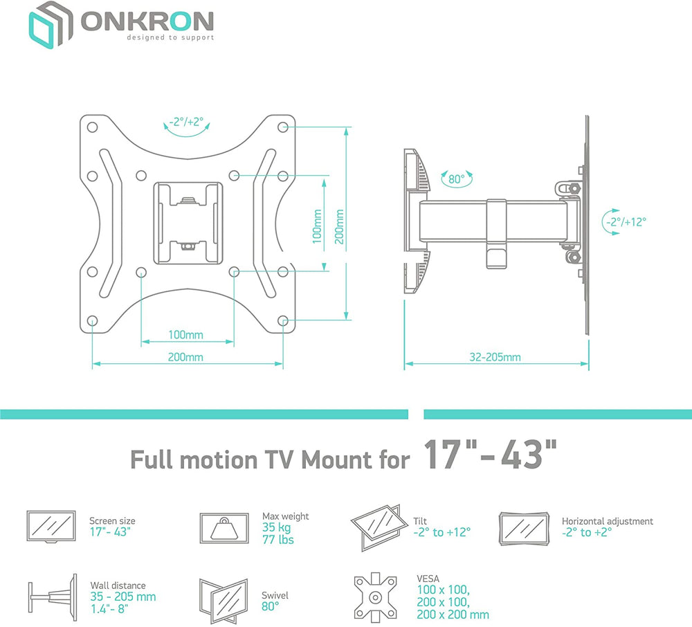 ONKRON TV Mount for 22″-42″ up to 30 kg NP24 Black