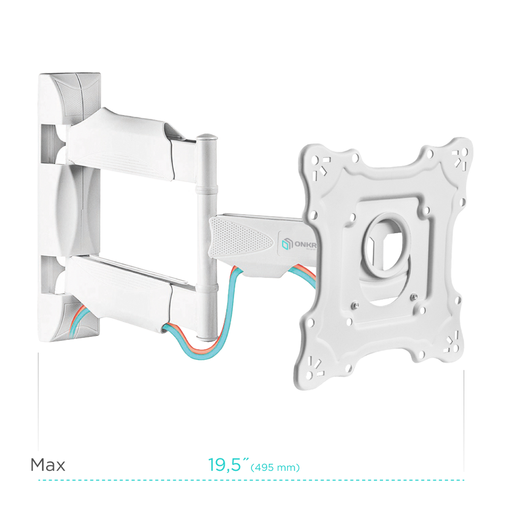 "ONKRON TV Wall Mount Bracket for 17"" to 43-inch LCD LED Flat Screens up to 77 lbs Full Motion Arm VESA up to 200 x 200 mm NP28 White"