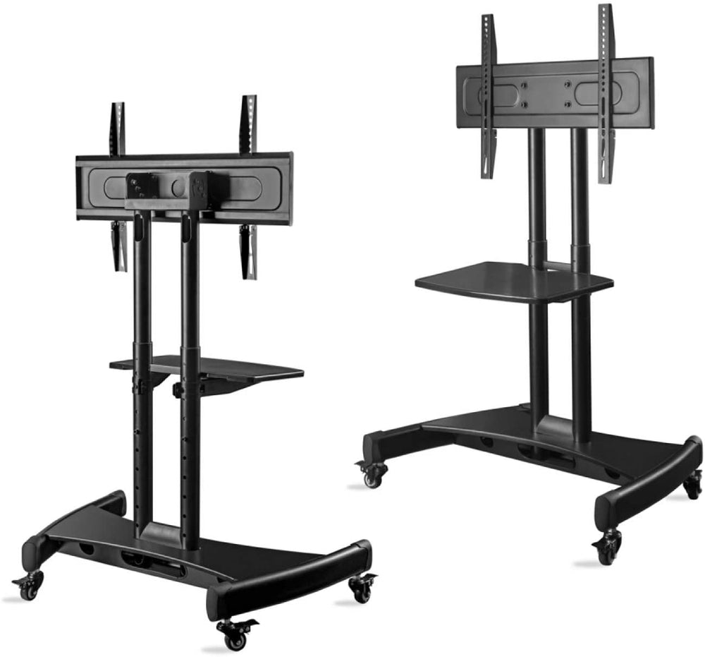 "ONKRON Tilting Mobile TV Stand for 32""-65 Inch TVs & Interactive Touch Panels TV Cart - TS1330 Black"