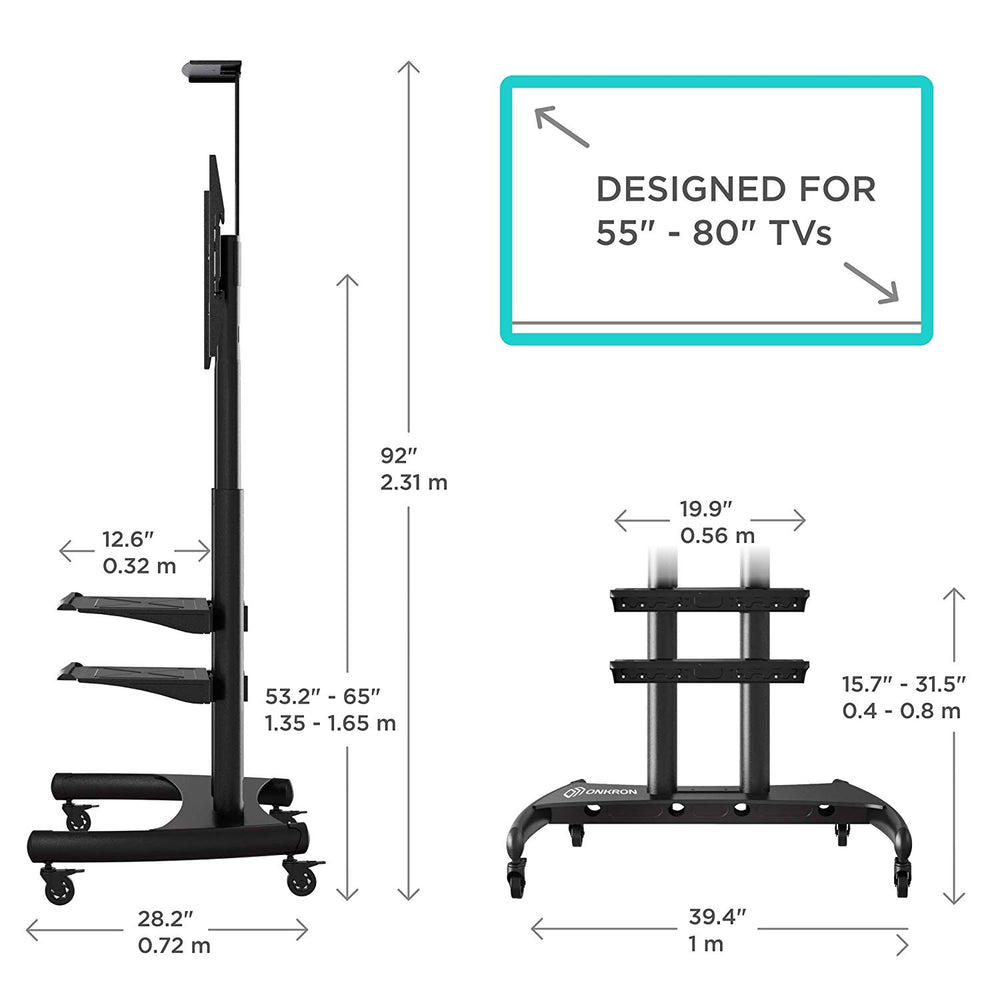 ONKRON Mobile TV Stand TV Cart for 55''– 80'' screens up to 200 lbs Universal TV Cart with Wheels TS1892 Black