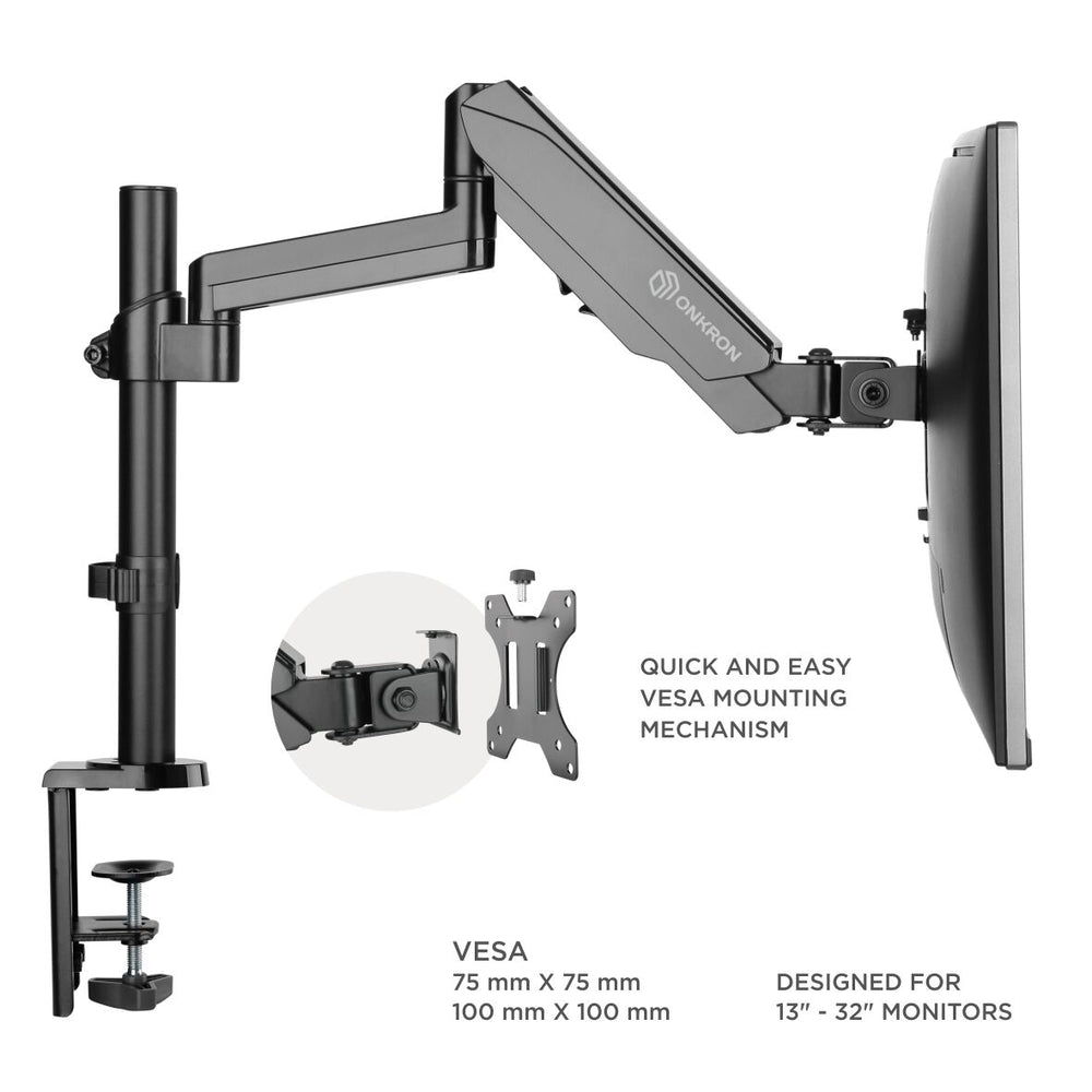 "ONKRON Monitor Desk Mount Stand for 13"" to 32-Inch LCD LED Screens up to 17.6 lbs G70 Black"