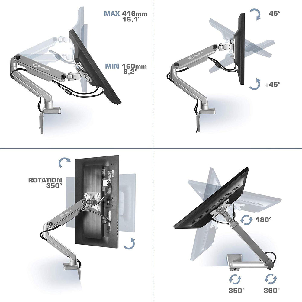 Dual Monitor Desk Mount for 23-32Inch 17.6lbs Full Motion Silver MS160