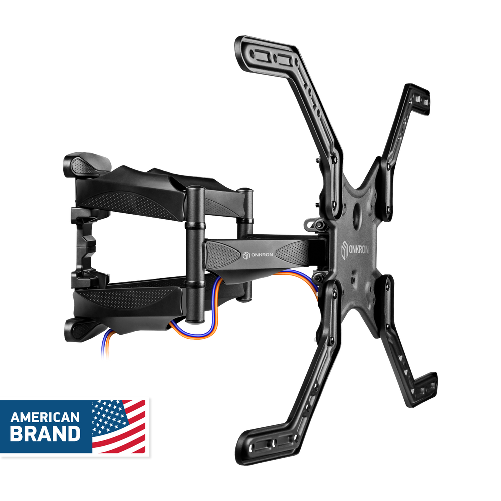 "ONKRON TV Wall Mount Bracket Full Motion Articulating Arm 39"" – 65 Inch Flat Screens up to 88 lbs Black M5L"