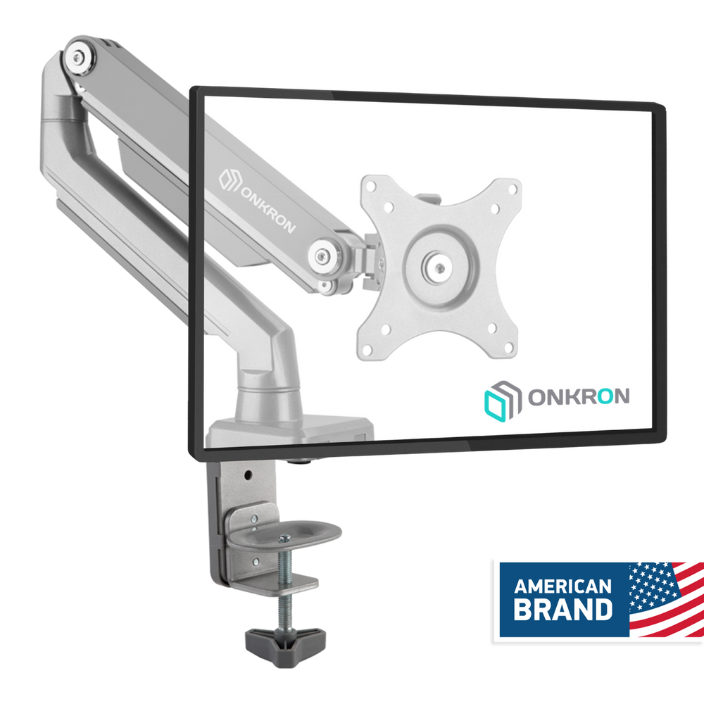 ONKRON Desk Mount Full Motion Arm for Computer Monitors 23 to 32-Inch LED LCD up to 17.6 lbs Silver (MS80)