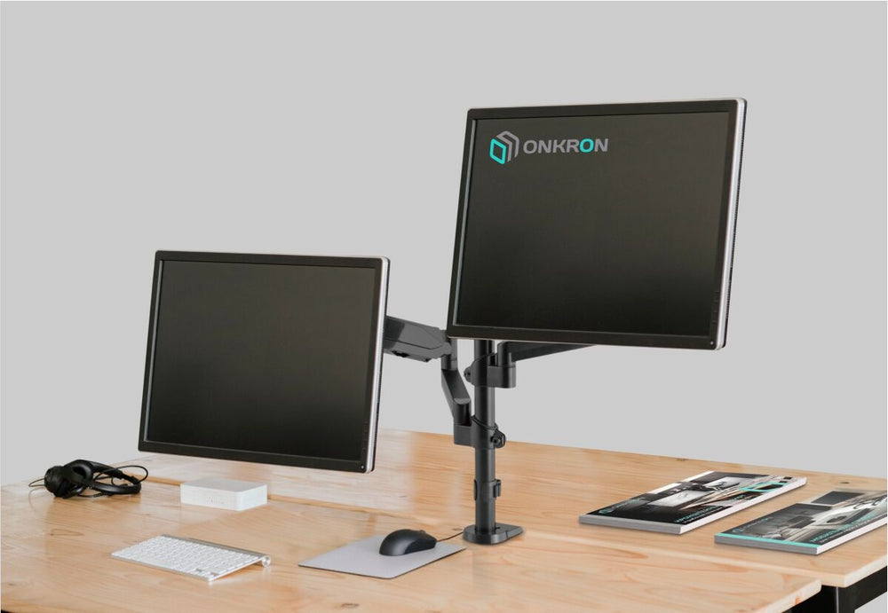 "ONKRON Dual Monitor Desk Mount Stand for 13"" to 32-Inch LCD LED Screens up to 17.6 lbs G140 Black"