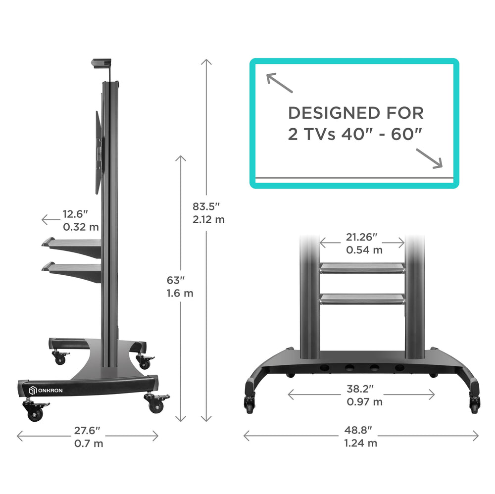 "ONKRON Mobile TV Stand Dual TV Cart with Wheels for 40""–60 Inch TS3811"