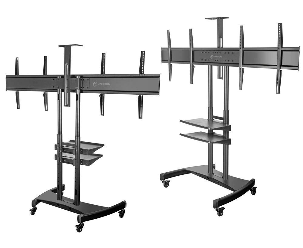 "ONKRON Mobile TV Stand Dual TV Cart with Wheels for 40""–65 Inch TS3881"