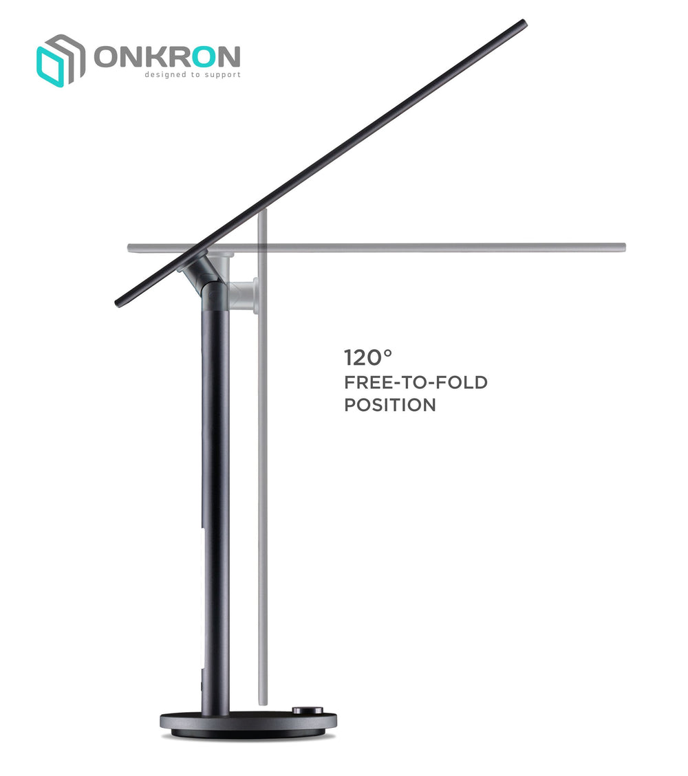 ONKRON LED Desk Lamp Eye Caring Dimmable Table Lamp with 3 Lighting Modes Dual Light D5A (Pearl BlackBerry)