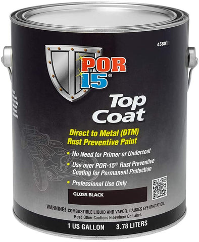 POR-15 45801 Top Coat Gloss Black Paint, 1 Gallon - Detailing Connect