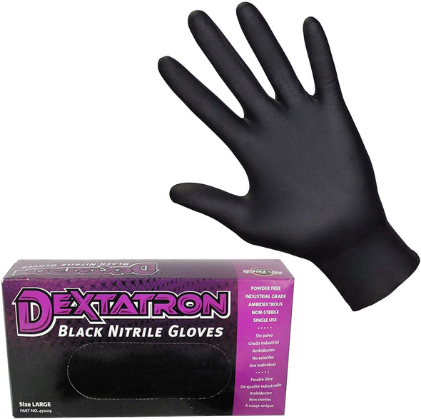 DEXTATRON Non-Sterile Powder Free Black Nitrile Disposable Gloves, 100 Gloves (Small) - Detailing Connect