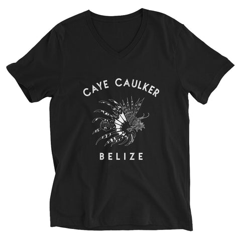 Beautiful Lionfish in Caye Caulker, Belize. Unisex Short Sleeve V-Neck T-Shirt