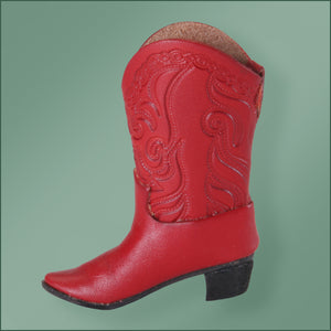 Leather Cowboy Boot Ornament -Red