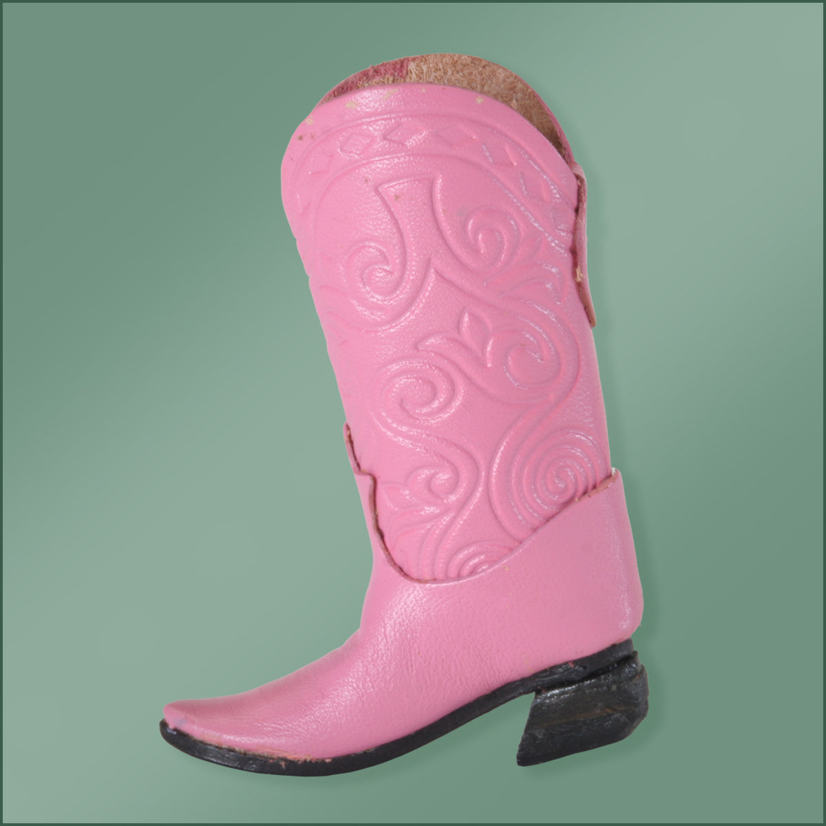 Leather Cowboy Boot Ornament -Pink
