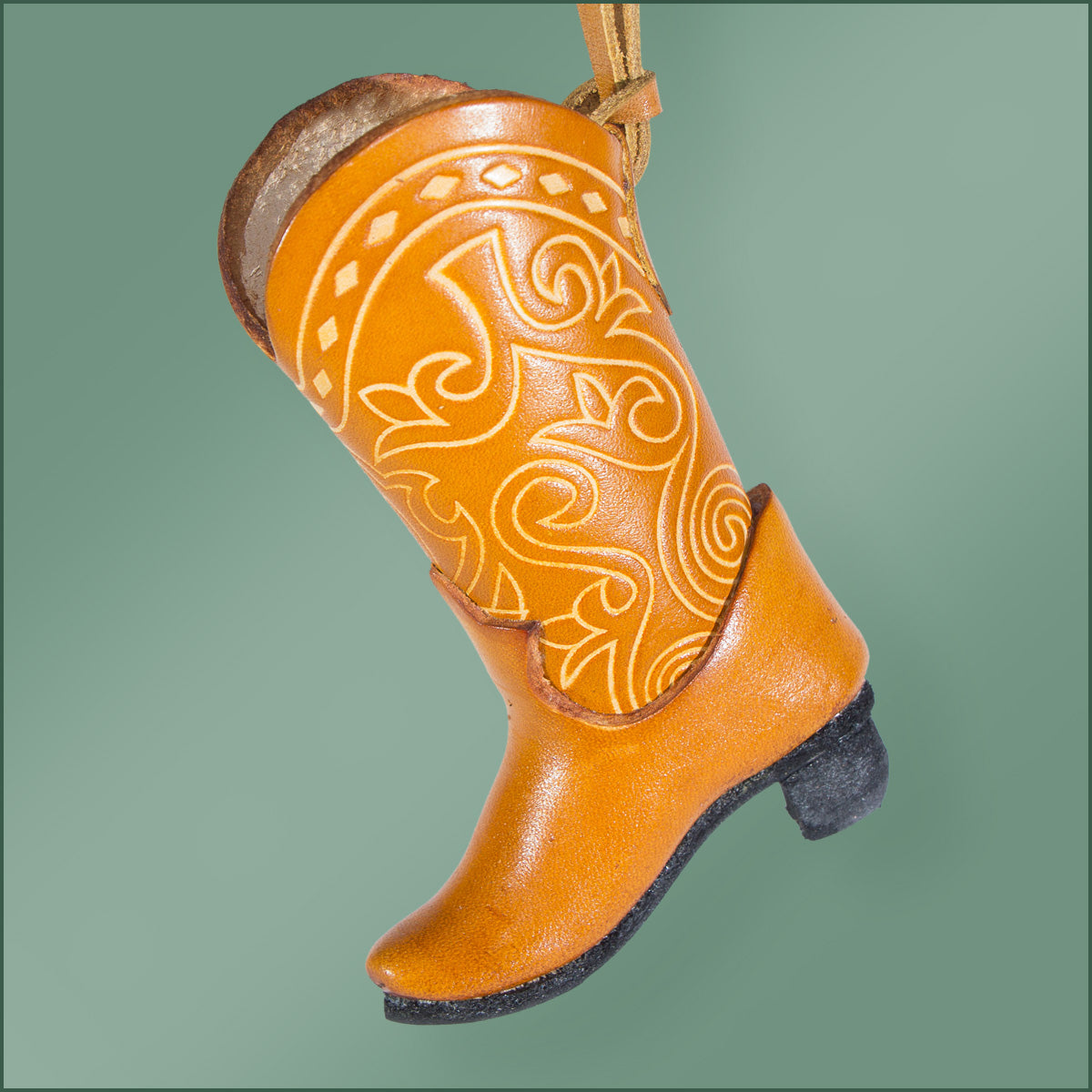 Leather Cowboy Boot Ornament -Tan