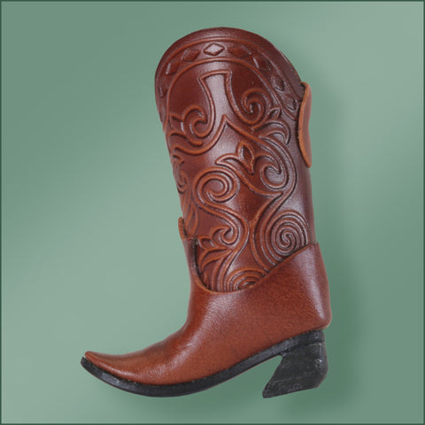 Leather Cowboy Boot Ornament- Dark Bown