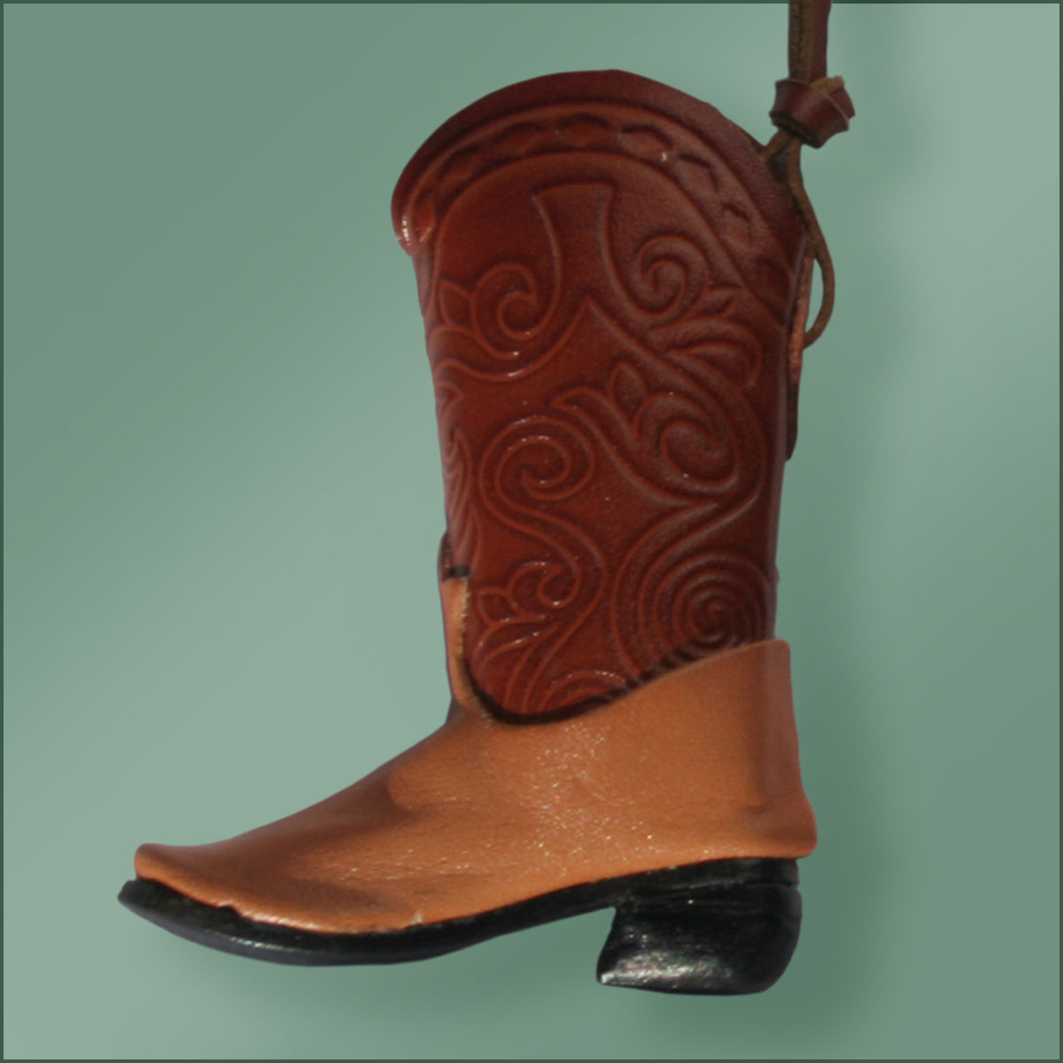 Leather Cowboy Boot Ornament - Brown/Tan