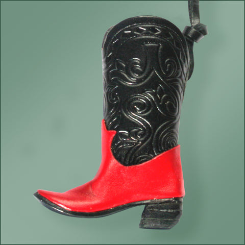 Leather Cowboy Boot Ornament - Black/Red