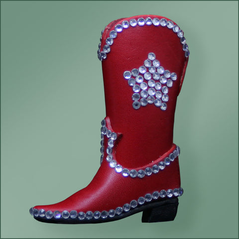Leather Bling Cowboy Boot Ornament - Red