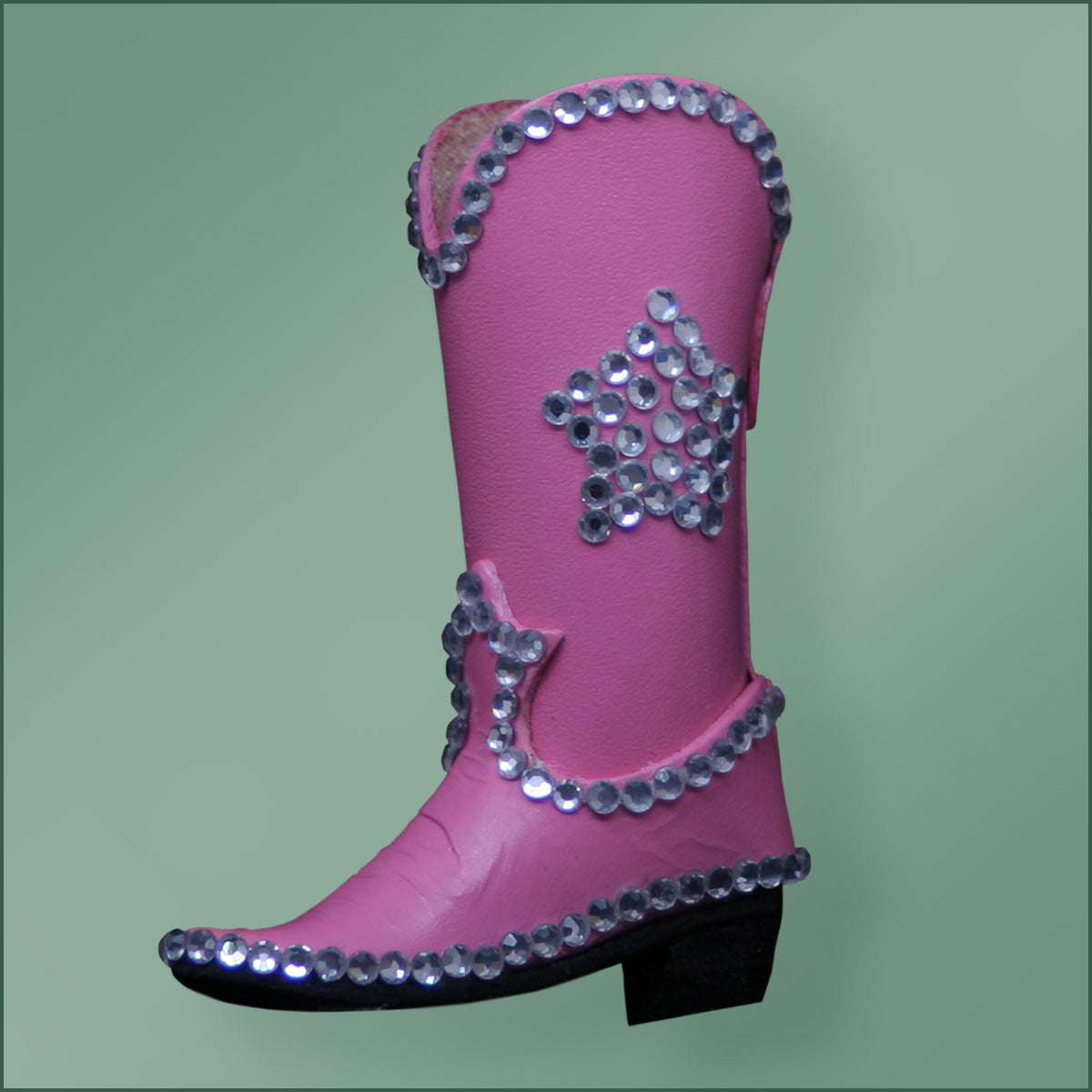 Leather Bling Cowboy Boot Ornament - Pink