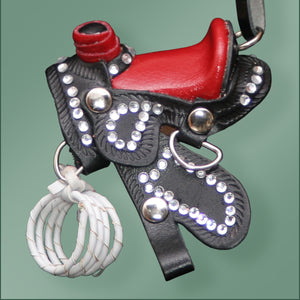 Leather Bling Saddle Ornament - Red/Black
