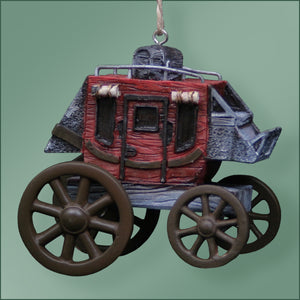 Polyresin - Stage Coach Ornament - Red