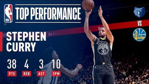 Stephen Curry splashes 10 threes in his first game back from injury.