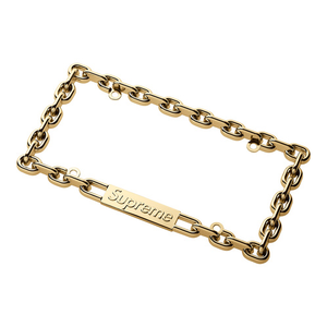 SUPREME - CHAIN LICENSE PLATE FRAME - GOLD (F/W 2018)