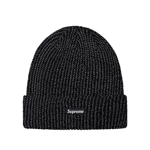 SUPREME - REFLECTIVE LOOSE GAUGE BEANIE - BLACK (F/W 2017)