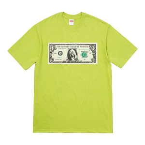 "SUPREME - ""DOLLAR"" TEE - LIME (F/W 2017)"
