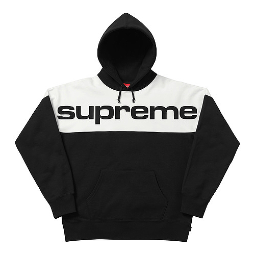 SUPREME - BLOCKED HOODED SWEATSHIRT - BLACK (F/W 2017)