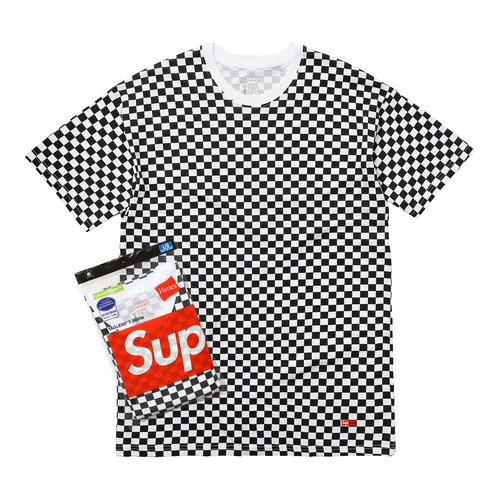 SUPREME - HANES CHECKER TAGLESS TEES 2 PACK - BLACK/WHITE (S/S 2018)