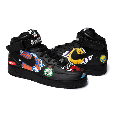 SUPREME - NIKE NBA TEAMS AIR FORCE 1 MID - BLACK (S/S 2018)