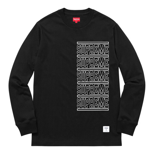SUPREME - STACKED LONG SLEEVE TOP - BLACK (S/S 2018)