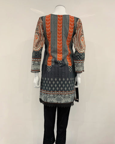 Digital Print Embroidered Chikankari Kurta