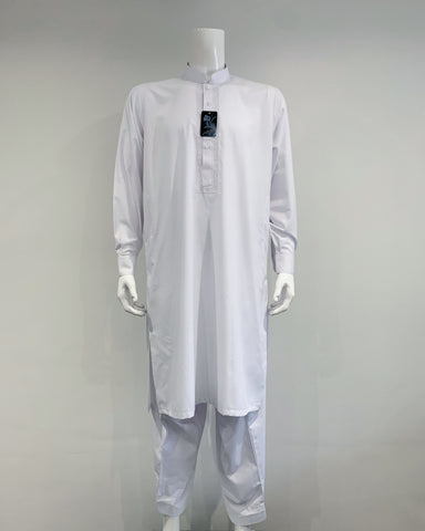 Mens Premium Al Qaisar Shalwar Kameez with Embroidery - White