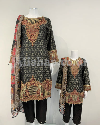 Black Fancy Jacquard Girls Outfit