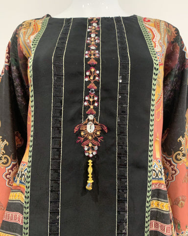 Black Multi Digital Print Hanky Hem Suit