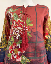 Deep Red Printed Tassle Lawn Suit