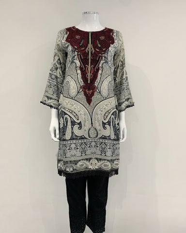 Embroidered Linen Kurta