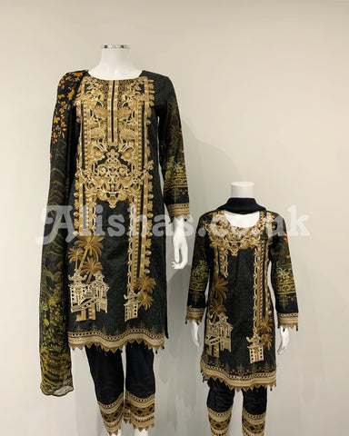Girls Black Digital Lawn Suit