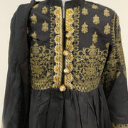 Black Girls Lawn Dress Suit with Gold Embroidery