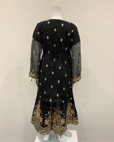 Girls Black Kameez with Embroidered Sharara