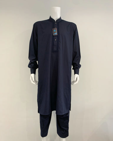 Mens Premium Al Qaisar Shalwar Kameez with Embroidery - Navy Blue